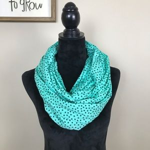 Accessories - Teal Polka Dot Infinity Scarf